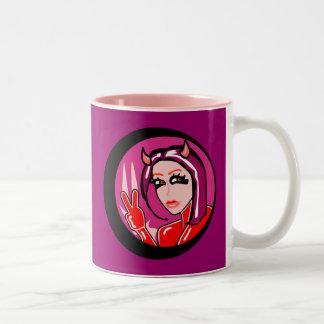 Cute Devil Girl Two-Tone Mug