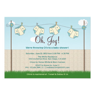 Cute Diaper Clothesline Gender Neutral Baby Shower Personalized Invitation