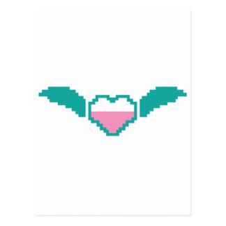 Cute digital heart with wings postcard