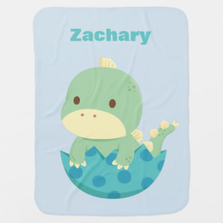 Cute Dino Just Hatched Personalized Baby Blanket
