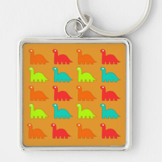 Cute Dino Pattern Walking Dinosaurs Silver-Colored Square Key Ring