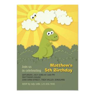 "Cute Dino Trex Sunshine Children Birthday Invite 5"" X 7"" Invitation Card"