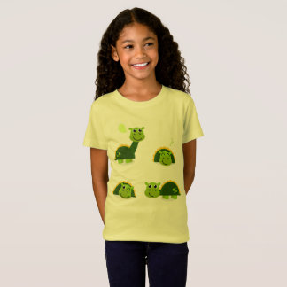 Cute dinos girls t-shirt Green yellow