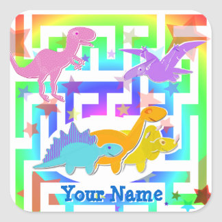 Cute Dinos in a color Maze Name Stickers