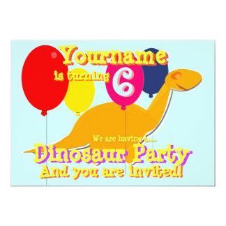 Cute Dinosaur 6th Birthday Party Invitations