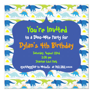 "Cute Dinosaur Birthday Party Invitation Templates 5.25"" Square Invitation Card"