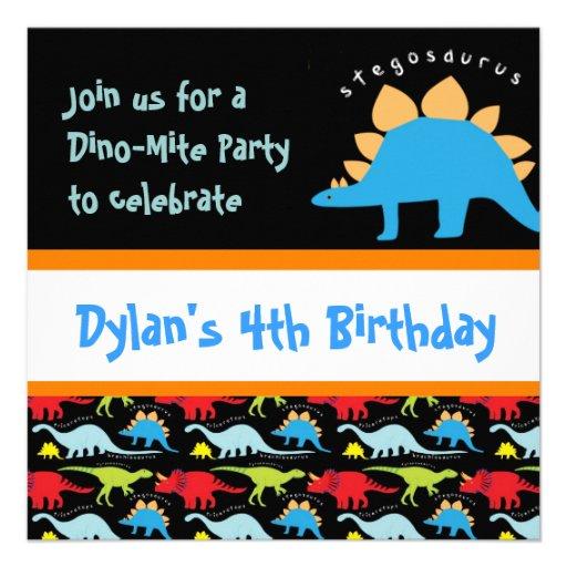Cute Dinosaur Birthday Party Invitations Black