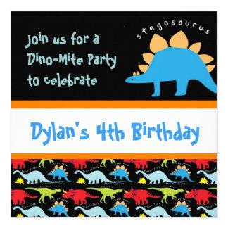 "Cute Dinosaur Birthday Party Invitations Black 5.25"" Square Invitation Card"