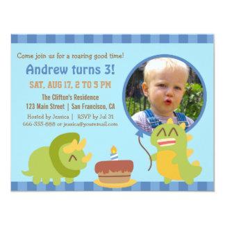 "Cute Dinosaur Birthday Party Photo 4.25"" X 5.5"" Invitation Card"