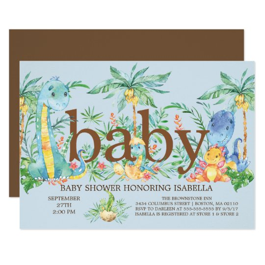 Cute Dinosaur Boys Baby shower Invitation