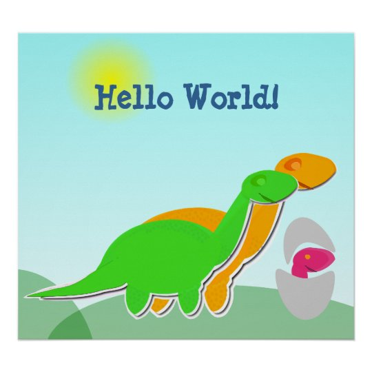 Cute Dinosaur Family little Pink Dino Egg Poster