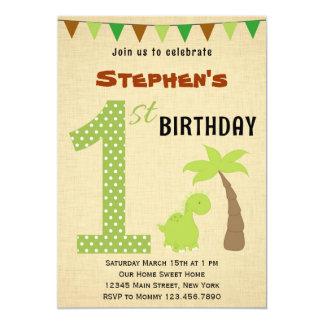 "Cute Dinosaur First Birthday Invitation 5"" X 7"" Invitation Card"