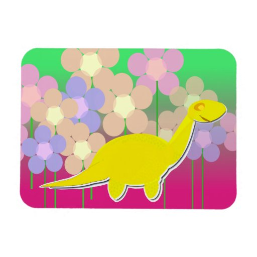 Cute Dinosaur Flowers Flexible Magnet