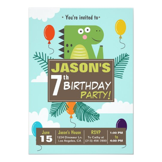 Cute Dinosaur Kids Birthday Party Invitation