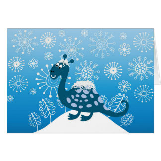 Cute Dinosaur Playing in the Snow! Card