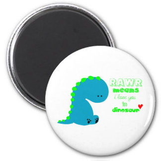 Cute Dinosaur RAWR 6 Cm Round Magnet