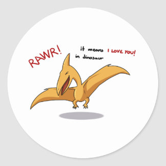 cute dinosaur rawr means I love you Classic Round Sticker