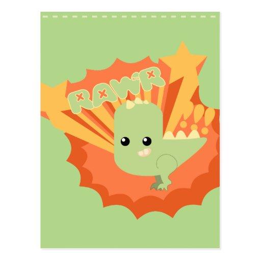 Cute Dinosaur Rawr Post Cards