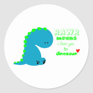Cute Dinosaur RAWR Classic Round Sticker