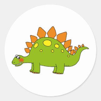 Cute dinosaur - stegosaurus classic round sticker