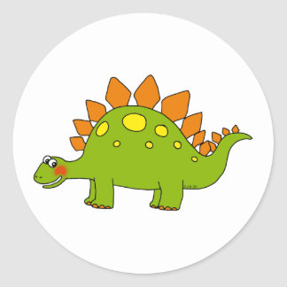 Cute dinosaur - stegosaurus round stickers
