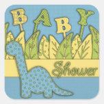 Cute Dinosaur Theme Baby Shower Square Sticker