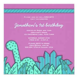 Cute Dinosaur Theme Birthday Party - Turquoise 13 Cm X 13 Cm Square Invitation Card