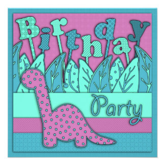 Cute Dinosaur Theme Birthday Party - Turquoise Personalized Announcements
