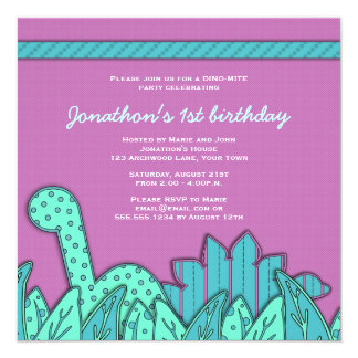 Cute Dinosaur Theme Birthday Party - Turquoise 13 Cm X 13 Cm Square Invitation Card