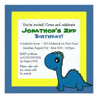 Cute Dinosaur Theme Kids Birthday - Blue Yellow 13 Cm X 13 Cm Square Invitation Card