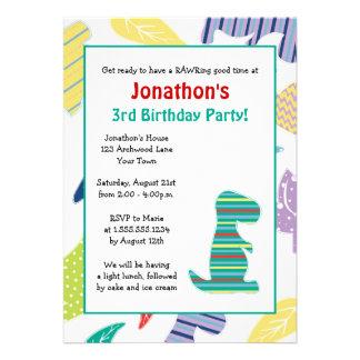 Cute Dinosaur Theme Kids Birthday Party Invitation