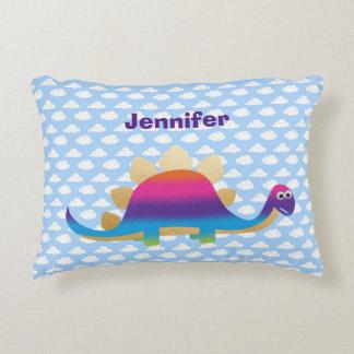 Cute Dinosaur with Clouds on Blue Sky Decorative Cushion