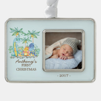 Cute Dinosaurs Baby's 1st Christmas Photo Ornament