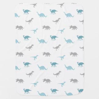 Cute dinosaurs Blue Gray Baby Blanket
