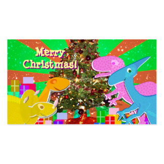 Cute Dinosaurs by the Christmas Tree Cards Business Card Template