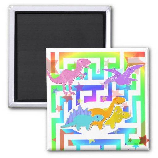 Cute Dinosaurs Color Maze Fridge Magnet