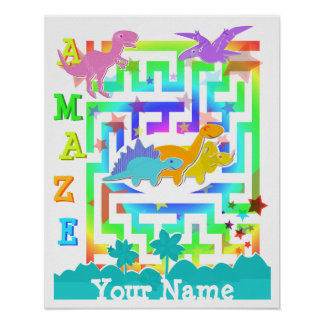 Cute Dinosaurs in a Color Maze Poster Print