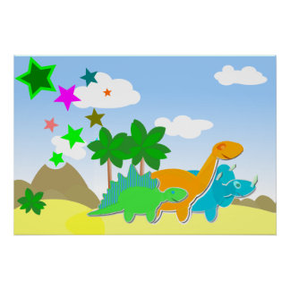 Cute Dinosaurs Poster