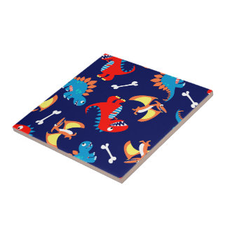 Cute dinosaurs small square tile