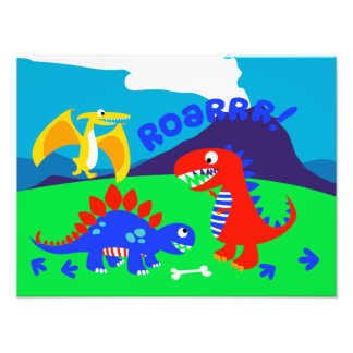 Cute dinosaurs standing on a hill photo print