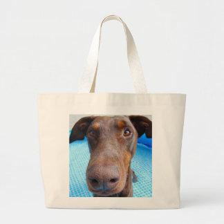 Cute doberman closeup large tote bag