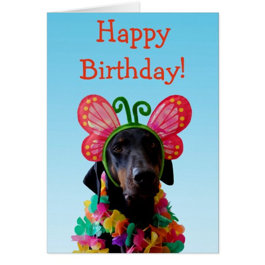 Cute Doberman dog butterfly birthday Card