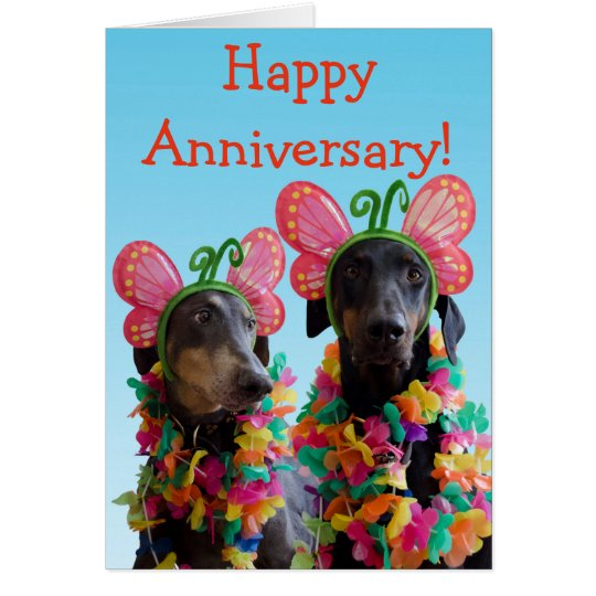 Cute Doberman dog butterfly couple anniversary Card