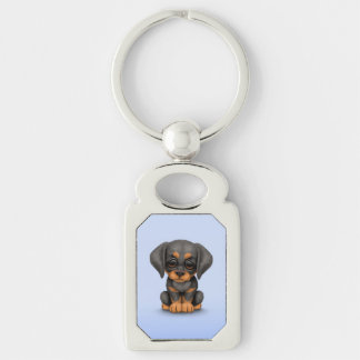 Cute Doberman Pinscher Puppy Dog on Blue Silver-Colored Rectangle Key Ring