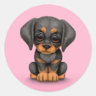 Cute Doberman Pinscher Puppy Dog on Pink Classic Round Sticker
