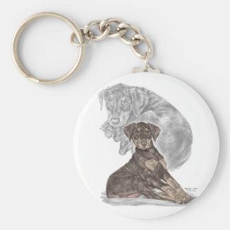 Cute Doberman Pinscher Puppy Key Ring