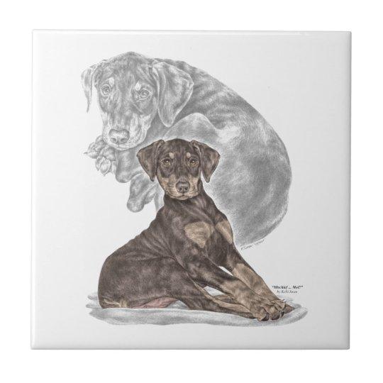 Cute Doberman Pinscher Puppy Tile