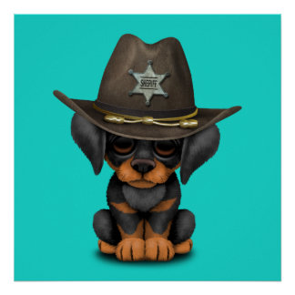 Cute Doberman Puppy Dog Sheriff Poster