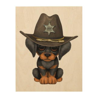 Cute Doberman Puppy Dog Sheriff Wood Canvas
