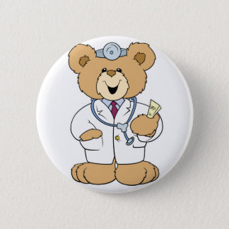 Cute Doctor Teddy Bear 6 Cm Round Badge